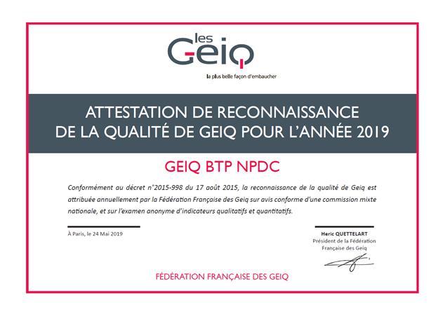 Le GEIQ BTP HDF obtient son label pour l'année 2019